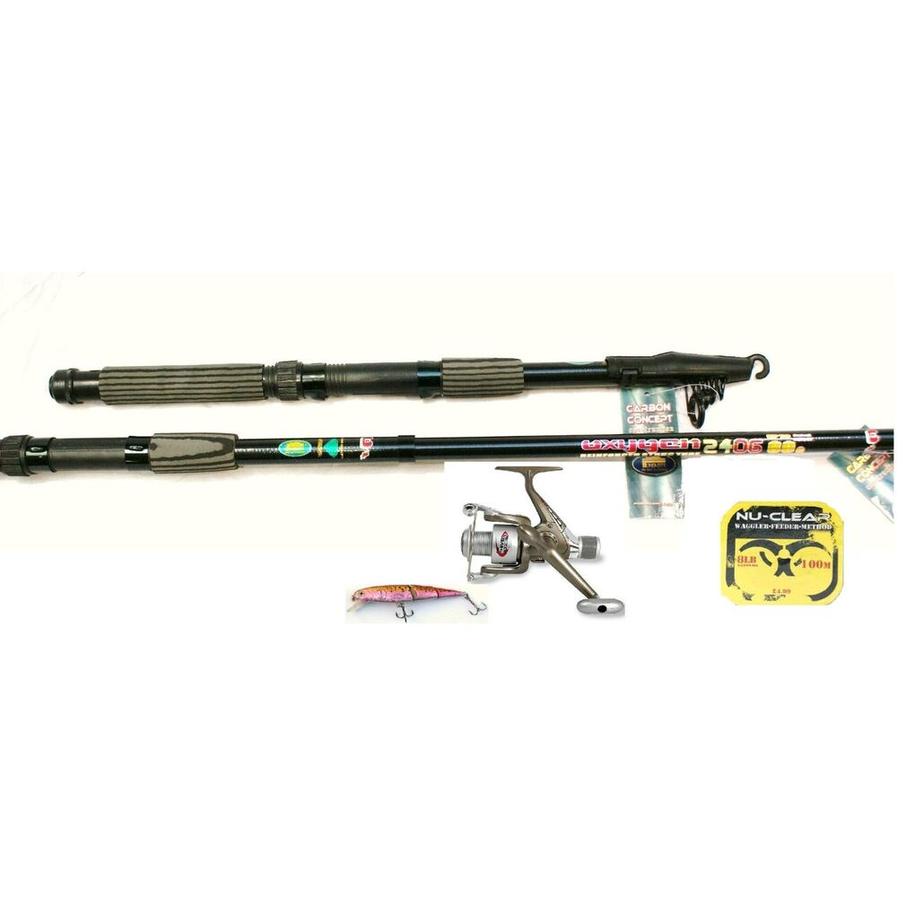 12ft telescopic fishing rod and reel set for pike or sea for Fishing pole kit