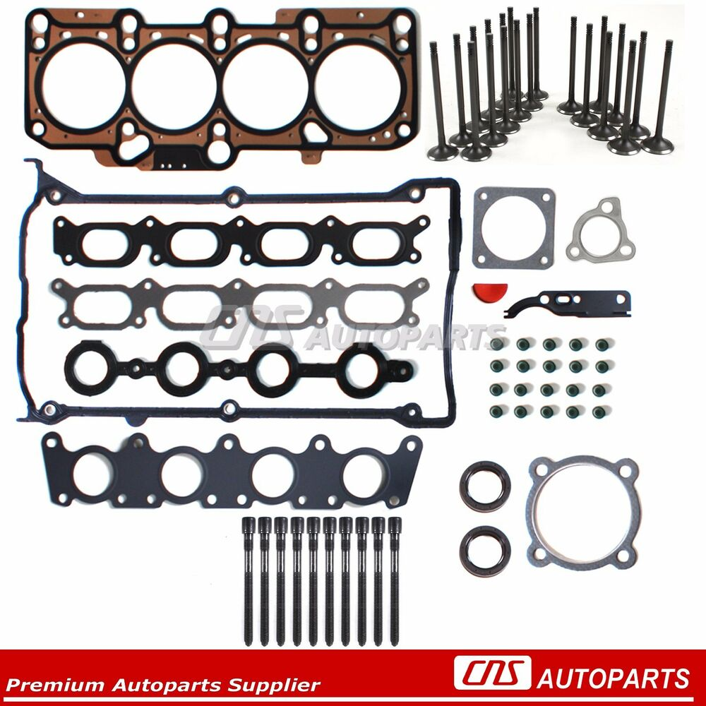 AUDI VW 1.8L Turbo 20V Head Gasket Set+Bolts+Intake and Exhaust Valves Kit  | eBay