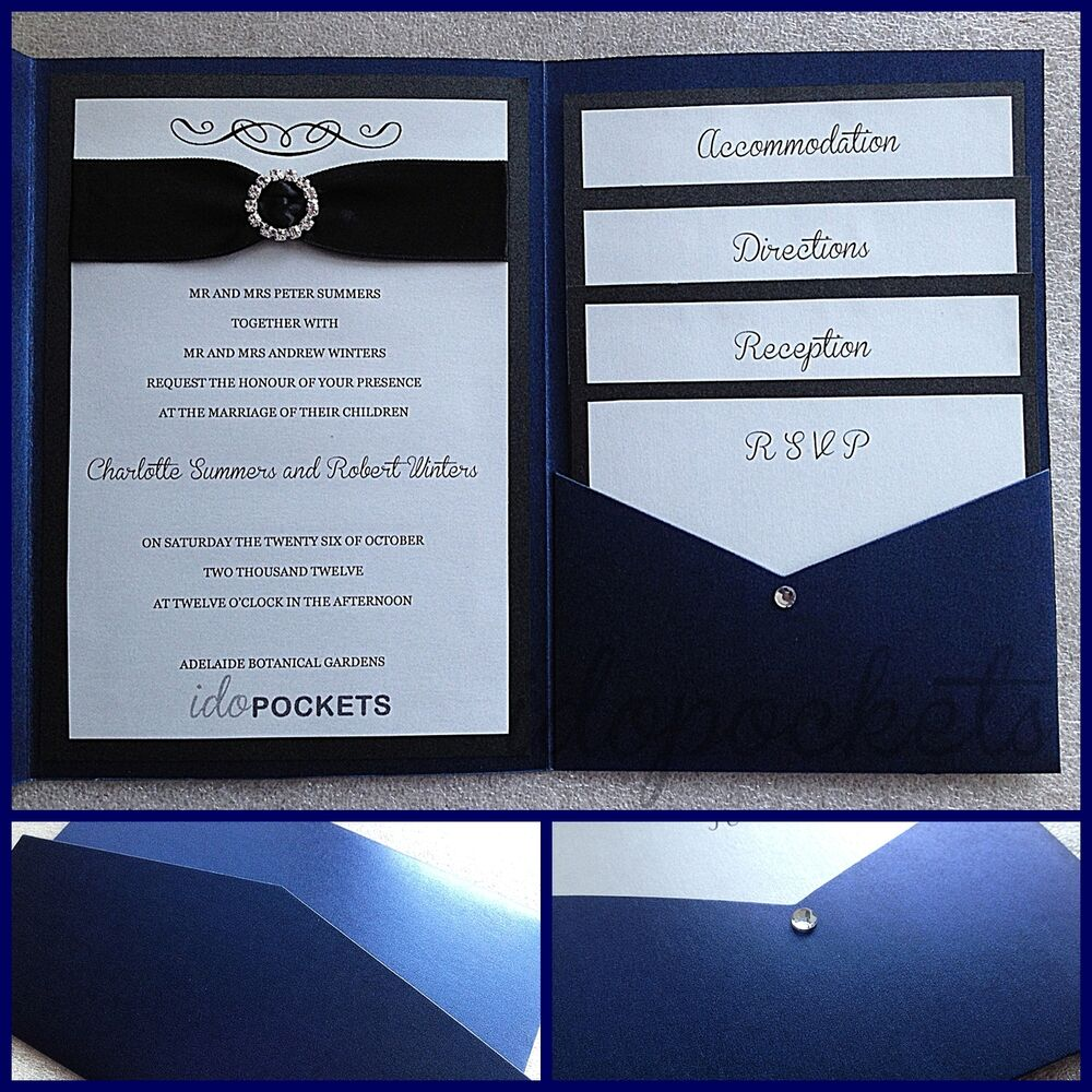 ROYAL DARK BLUE SHIMMER WEDDING INVITATIONS DIY POCKET