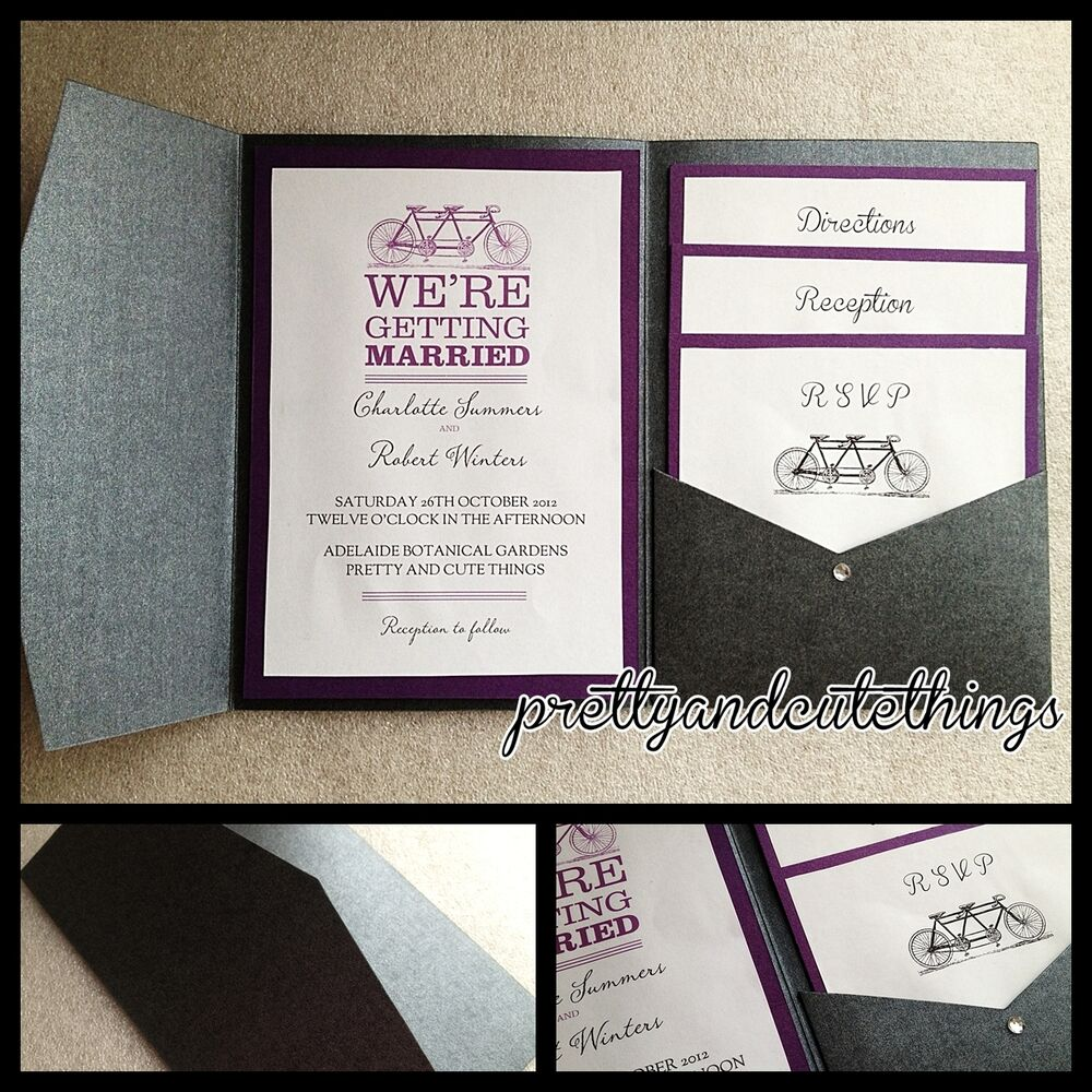 Black metallic shimmer wedding invitations diy pocket for Diy pocket wedding invitations tutorial