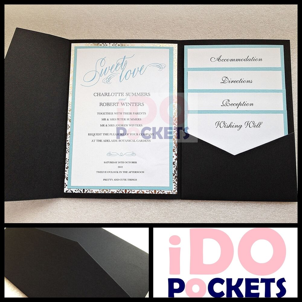matte black wedding invitations diy pocket cards envelopes invite