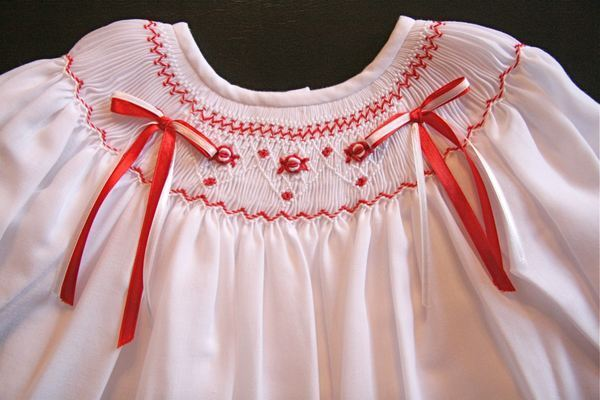 Will beth girls gorgeous smocked white red christmas dress portraits