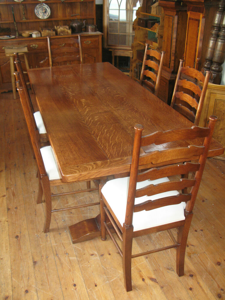 Oak Refectory Dining Kitchen Table And 6 Oak Ladder Back Chairs Solid Oak Ebay