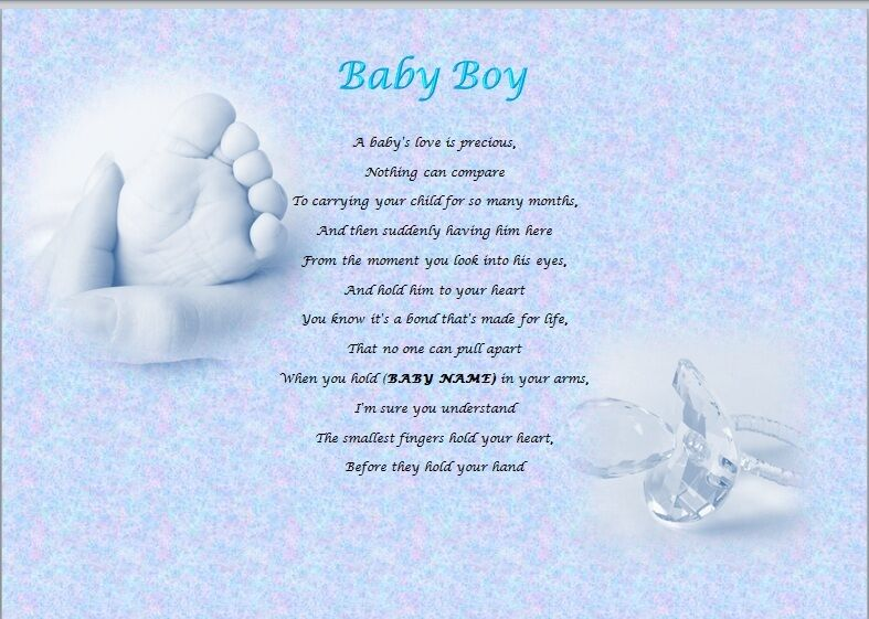BABY BOY Personalised Poem (Laminated Gift)