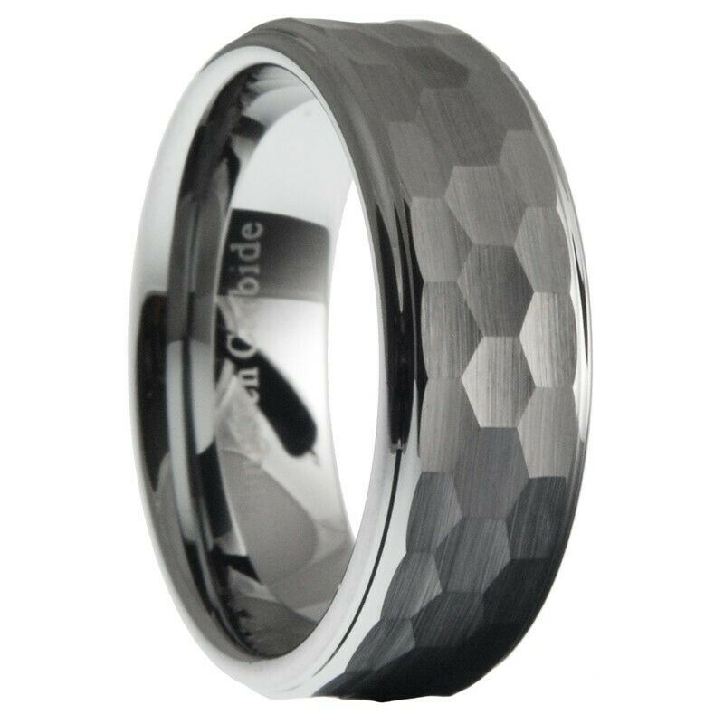 8mm Tungsten Carbide Men Hammered Stepped Edges Wedding Band Ring Size 7 125