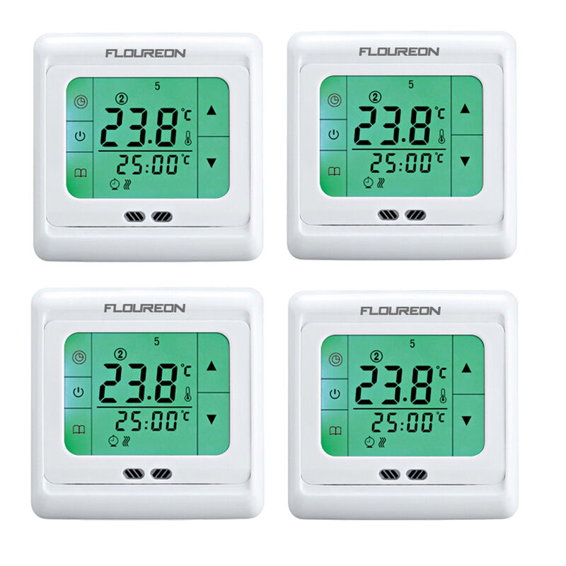 4x lcd digital thermostat f r bodenheizung heizung. Black Bedroom Furniture Sets. Home Design Ideas