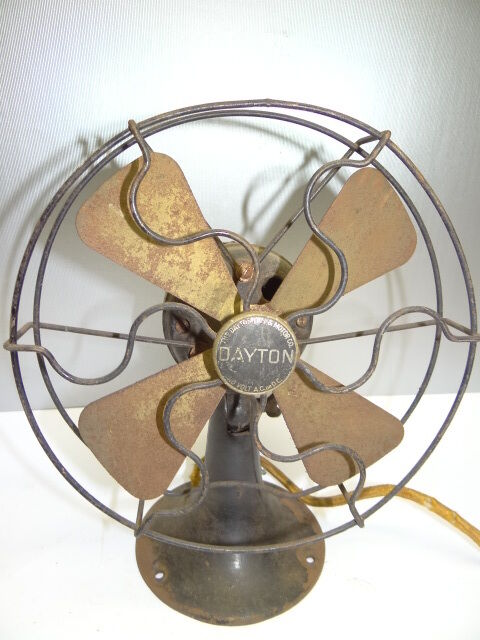 Dc Electric Fan : Vintage used metal dayton fan motor co volt ac or dc