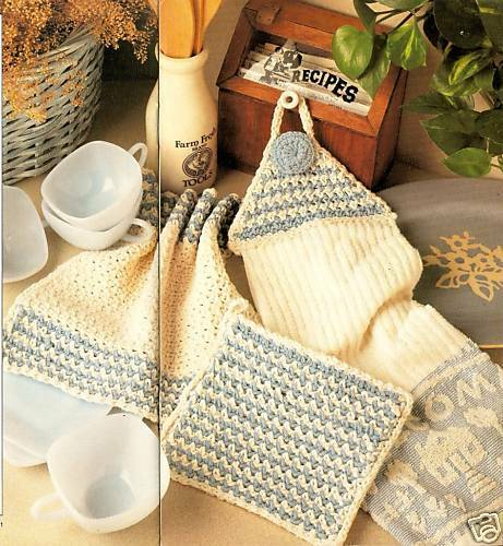 Free Vintage Kitchen Crochet Patterns : HANDY Kitchen Dishcloth Set/Crochet Pattern eBay