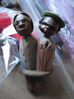 """Unique Antique Hand Carved Wood Bottle Stopper Kissing Man and Woman 4"""""""