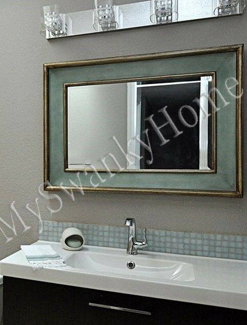Vanity Wall Mirror Blue Wood Large Neiman Marcus Coastal