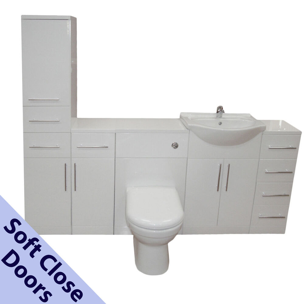 Toilet Sink Unit : BATHROOM VANITY CUPBOARD UNIT CERAMIC SINK BASIN WC TOILET SUITE TAP ...