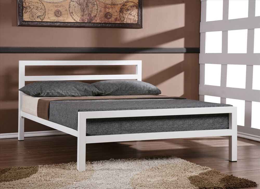 new city block 5ft king size white modern metal bed frame with sprung base sale ebay. Black Bedroom Furniture Sets. Home Design Ideas