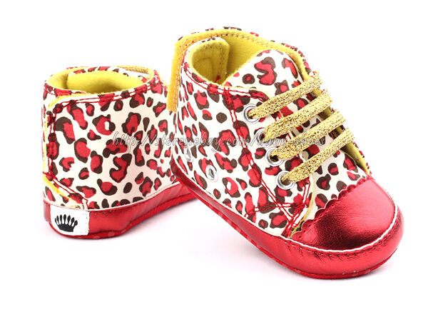 Baby Girl Leopard Red Crib Shoes Walking Sneaker Size 1 2