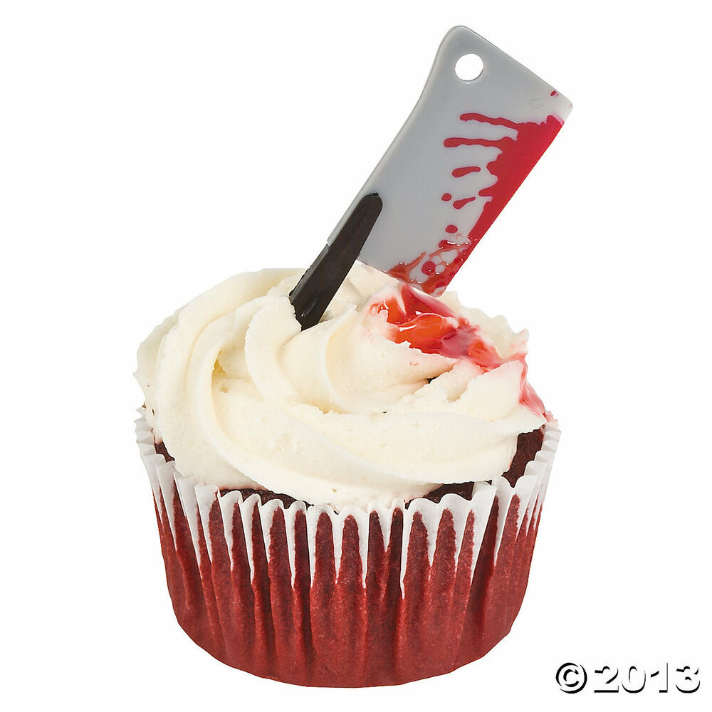 Halloween Zombie Party Bloody Meat Cleaver Picks Food