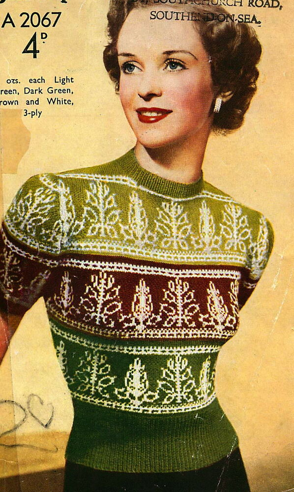 Vintage 1940s fair isle knitting pattern-how to knit a ...