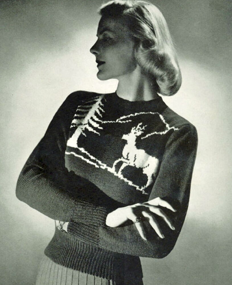 Vintage Christmas Jumper Knitting Pattern : Vintage knitting pattern-how to make a fun ladies christmas reindeer jumper ...