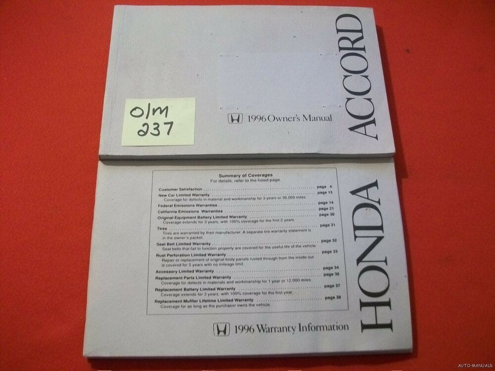 1996 honda accord original factory owners manual warranty booklet 1996 honda accord original factory owners manual warranty booklet ebay publicscrutiny Image collections