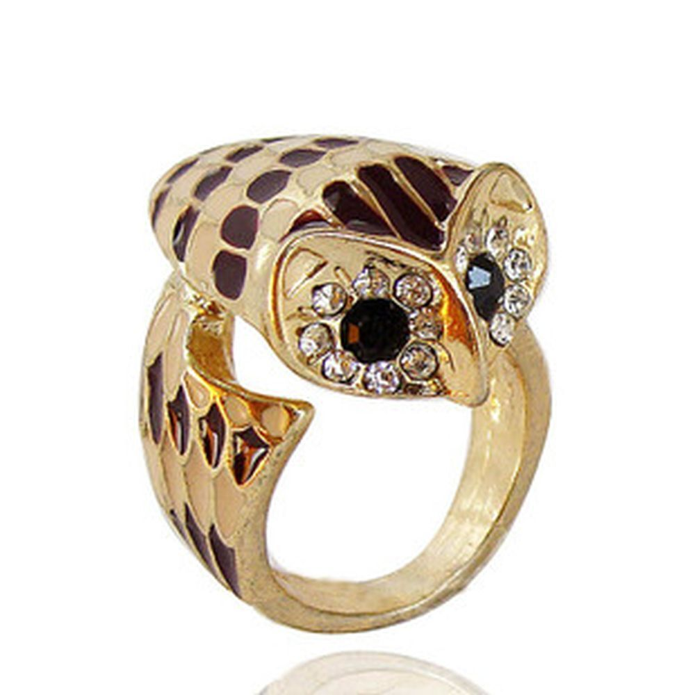 art deco vintage retro style owl charm ring multiple