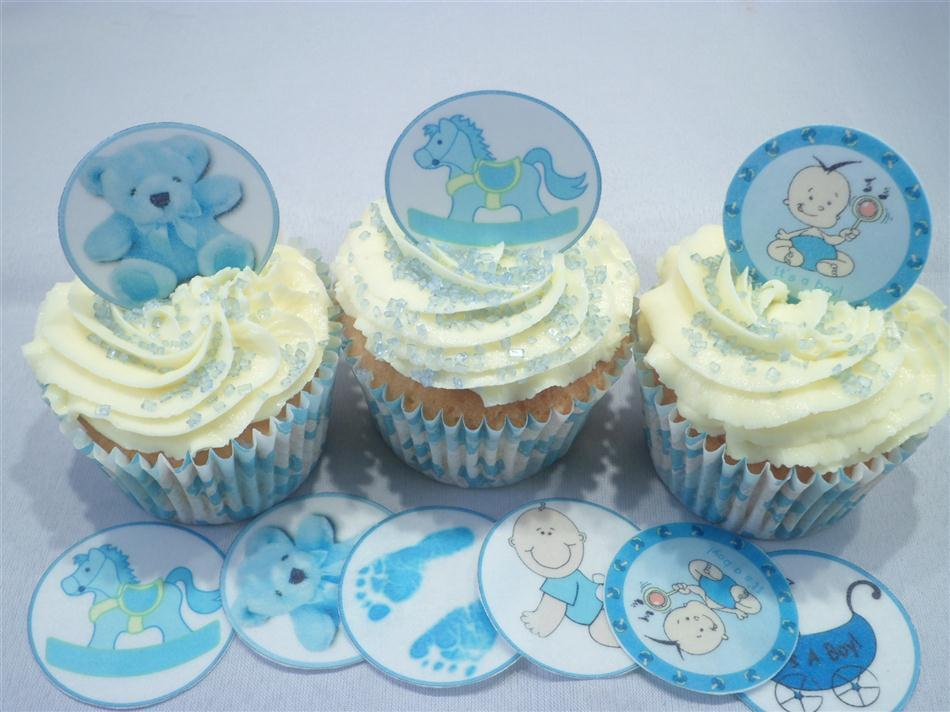Baby Shower Cake Decorations Uk : Its A Boy Baby Shower Edible Cupcake Toppers Boys Blue Feet Cake Decorations eBay