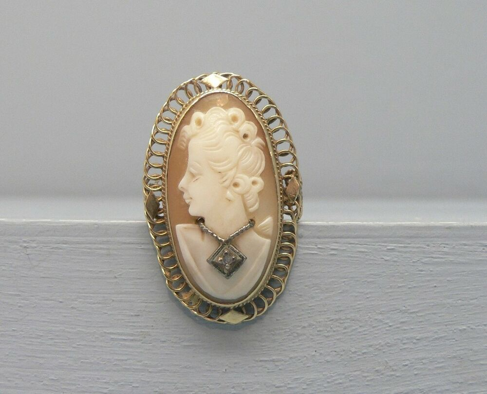 Large Antique 14k Gold Cameo Ring W Diamond Necklace Size
