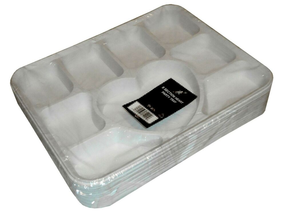 Disposable 9 Section Compartment Party Trays Food