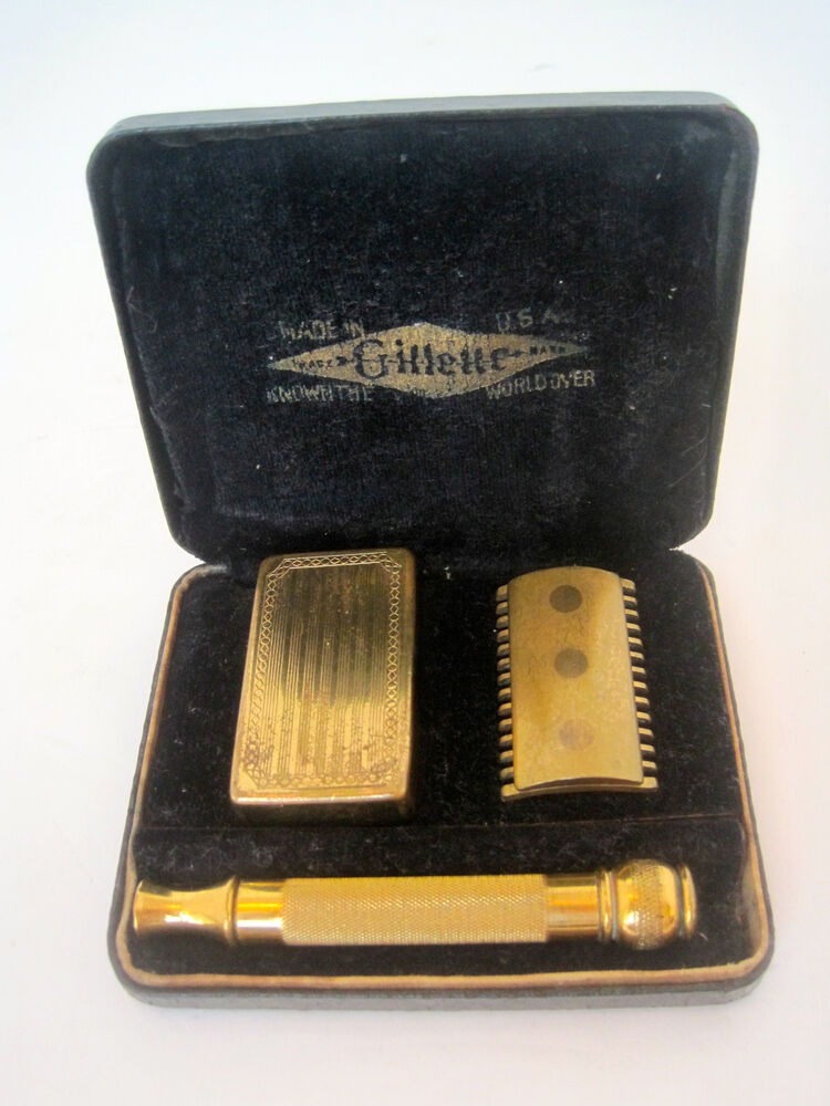Vtg 1920s Gillette Old Type Set Gold Quot Ball End Quot Safety