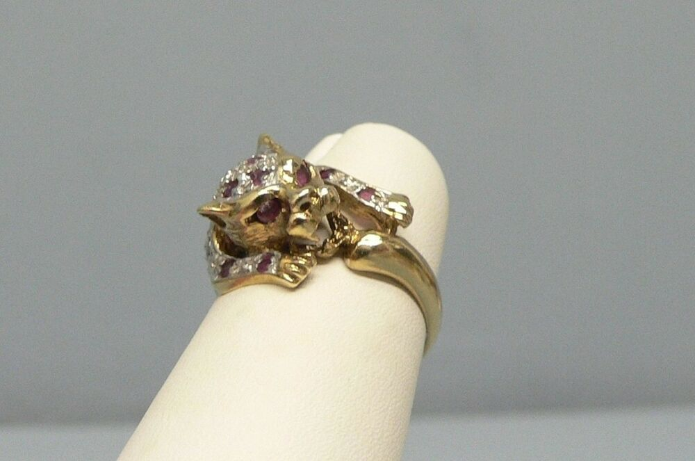 beautiful 14k gold ruby leopard ring size 9 ebay