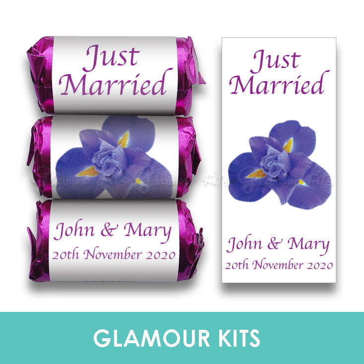 PERSONALISED LOVE HEART SWEETS WEDDING FAVOURS GIFTS PURPLE IRIS ...