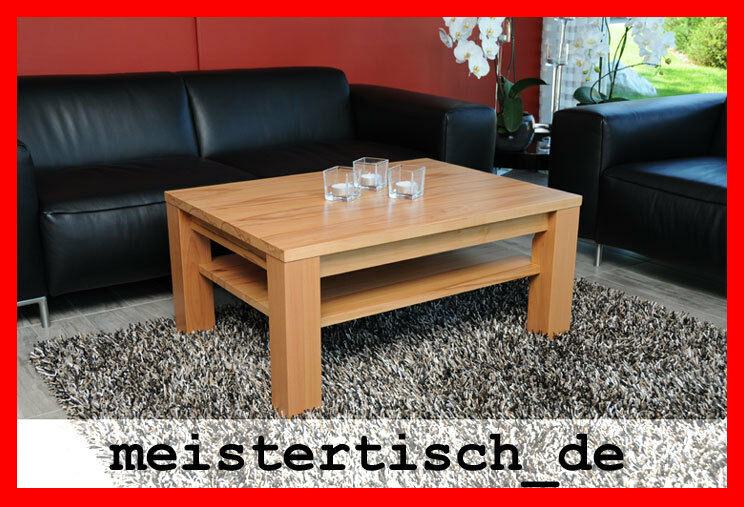 couchtisch beistelltisch kernbuche massiv holz nach ma echtholz mit ohne ablage ebay. Black Bedroom Furniture Sets. Home Design Ideas