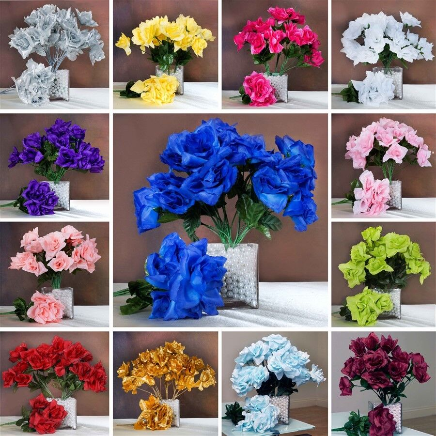 168 Silk OPEN ROSES WEDDING Bouquets FLOWERS Centerpieces