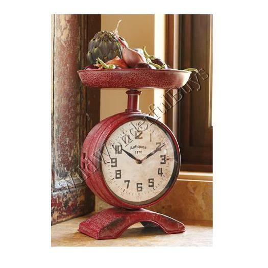Vintage Country Chic Red Scale Clock French Distressed