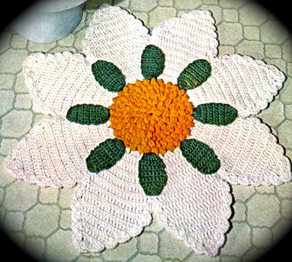 Vintage Crochet pattern-How to make a pretty round flower crochet rug eBay