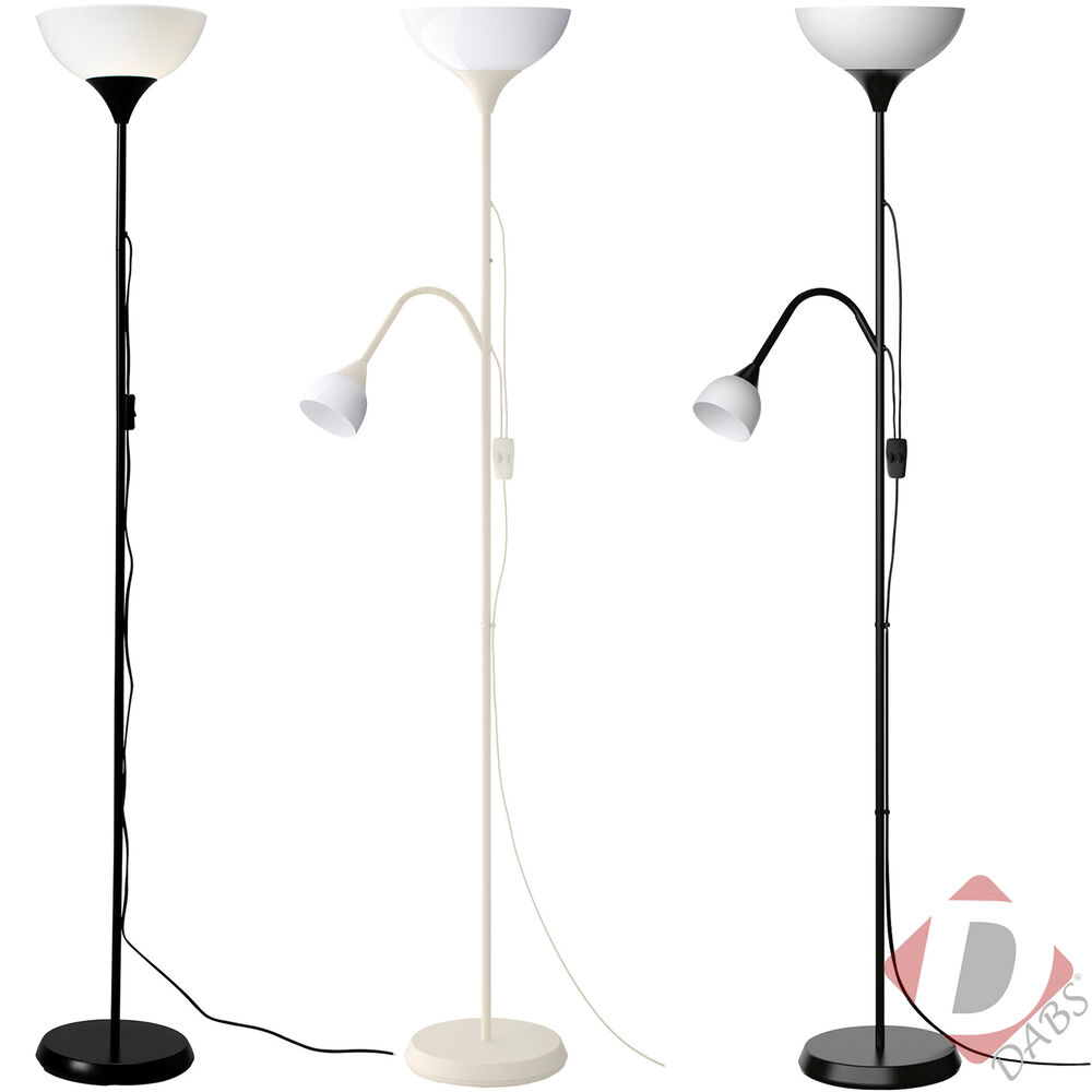 Ikea not tall floor standing lamp black white reading for Tall lantern floor lamp