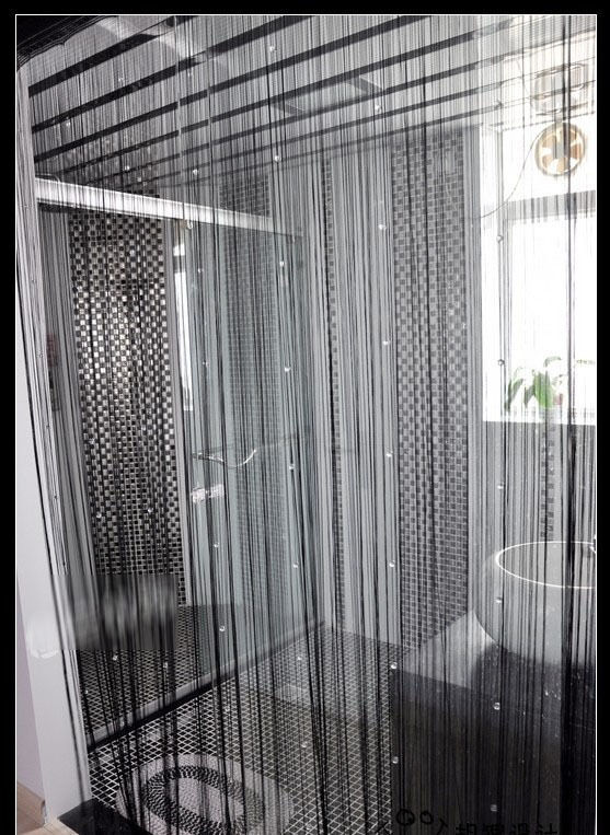 Blacks Door Window Panel Room Divider String Curtain