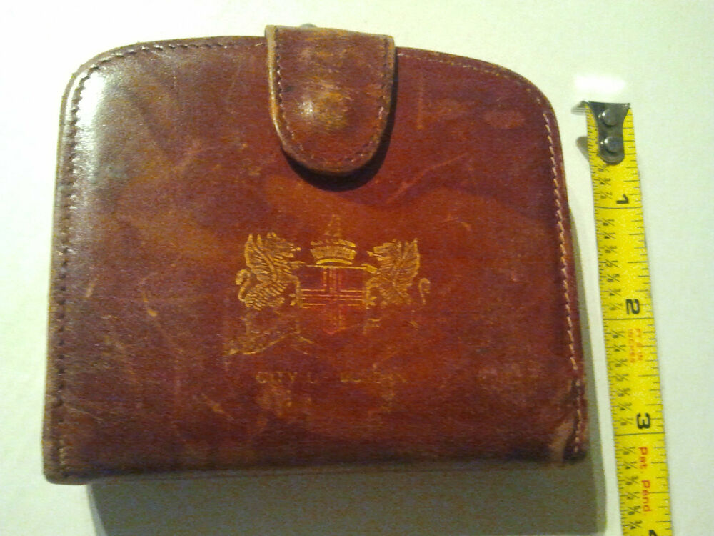 Vintage Brown Leather Coin Purse Wallet Framed Made In