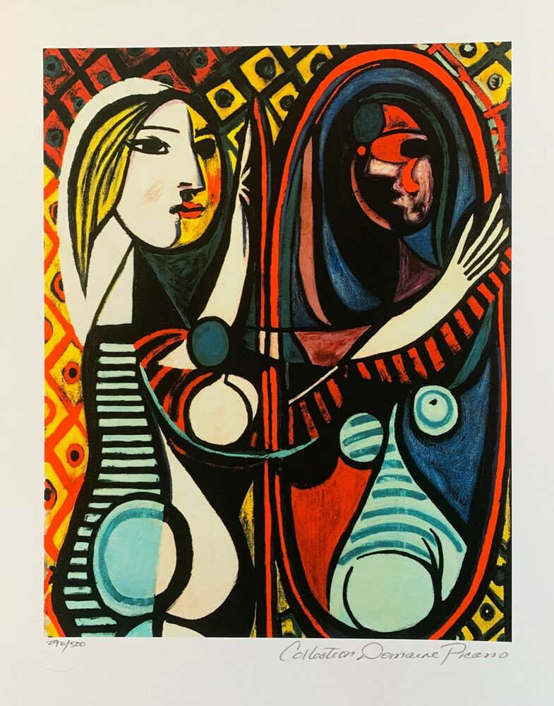 pablo picasso girl before a mirror estate signed numbered small giclee art ebay. Black Bedroom Furniture Sets. Home Design Ideas