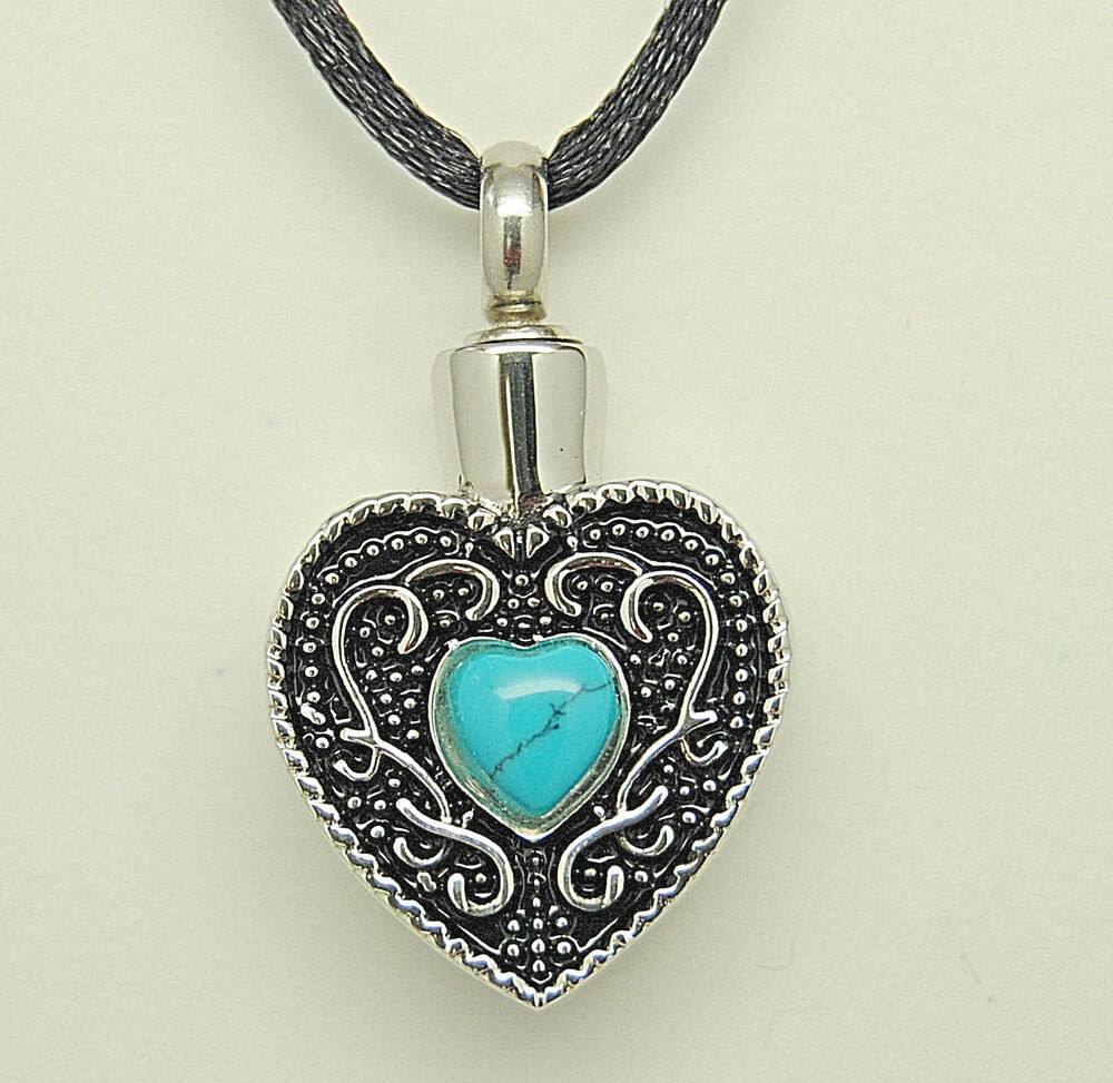turquoise cremation jewelry urn necklace memorial