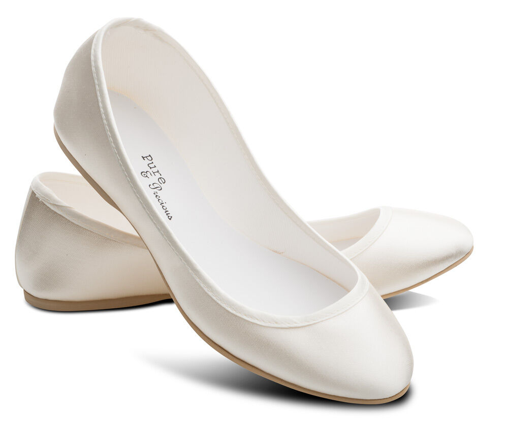 Ivory Bridesmaids Flower Girl Wedding Bridal Pumps Flats Shoes All