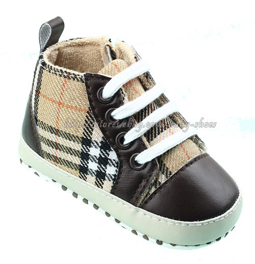 Baby Boy Plaid Soft Sole Crib Shoes Lace up Walking