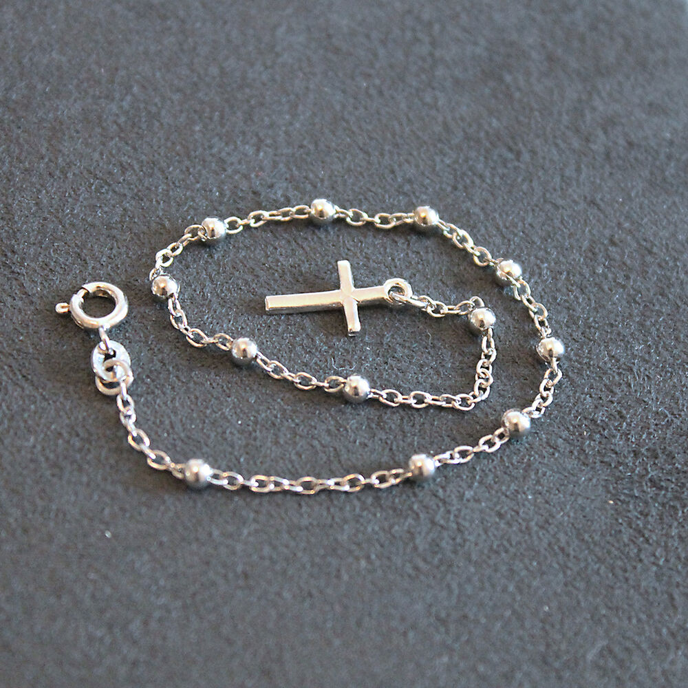 Cross Charm Bracelet: Sterling Silver 925 ITALY Beads Rosary Bracelet With Cross