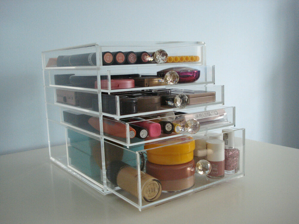 ... CUBE ACRYLIC MAKEUP ORGANIZER CLEAR COSMETIC STORAGE 5 DRAWERS  eBay