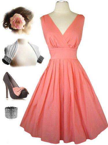 50s Style Coral Bombshell Pinup Surplice Rockabilly Dress