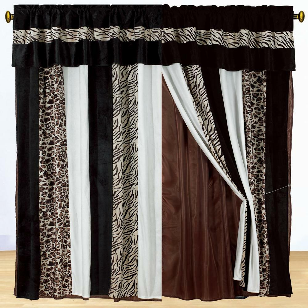Dark Brown Curtains Bedroom Black And White Chevron Bedroom Ideas Bedroom Wall Colors Images Black And White Bedroom Decor: New Brown Zebra Animal Print Draps Valance Black Curtains