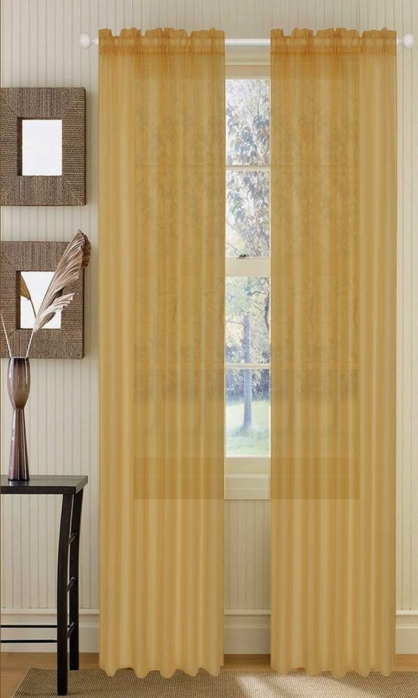 Sheer Sheers Voile Curtains 90 Long Gold Ebay