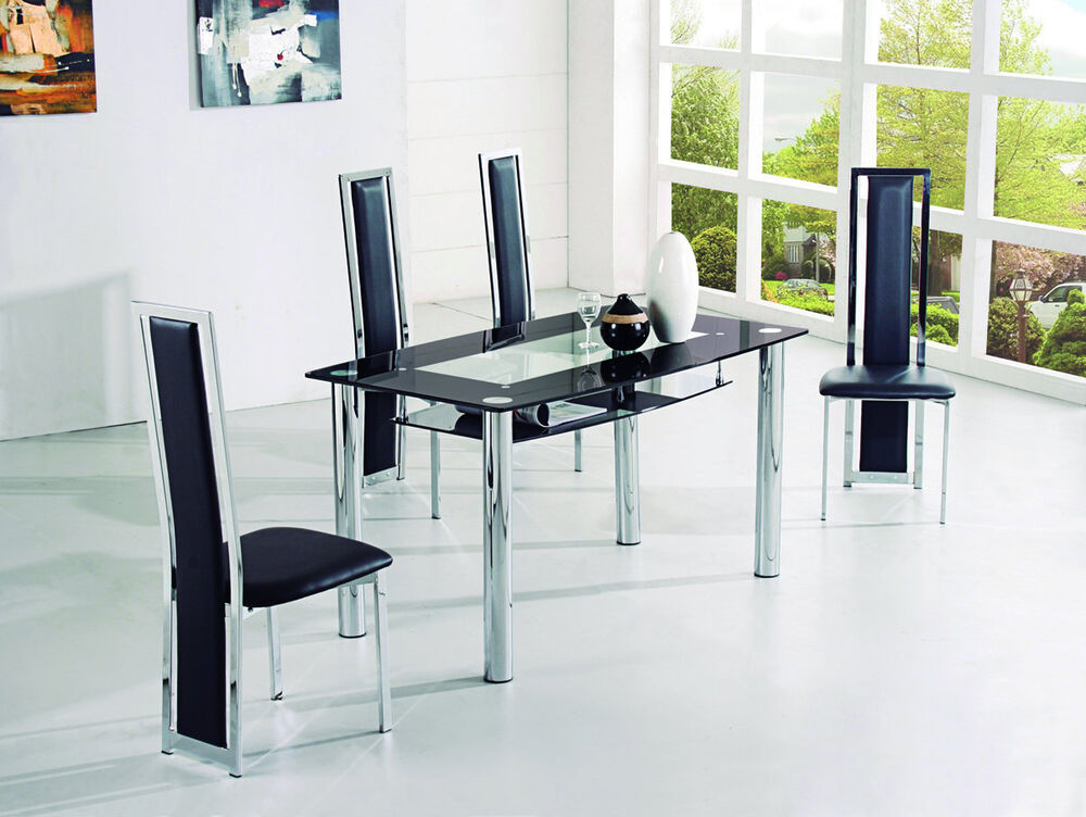 Rovigo large glass chrome dining room table and 4 chairs for 4 seater dining room set