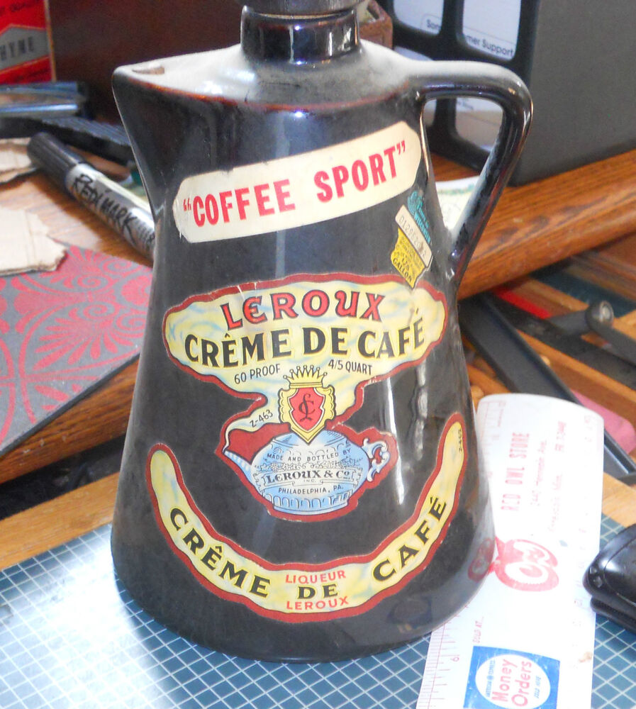 pottery leroux creme de cafe bottle philadelphia pa empty coffee spout ebay. Black Bedroom Furniture Sets. Home Design Ideas