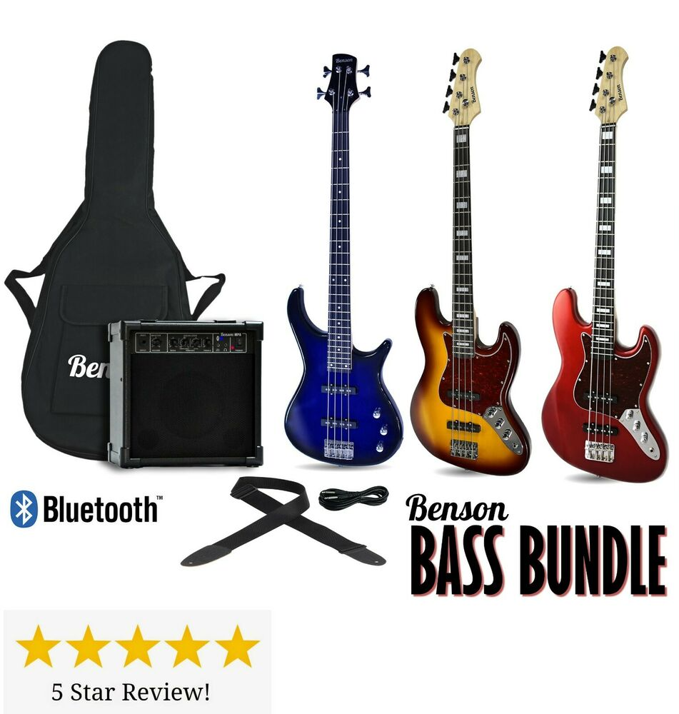 electric bass guitar package brand new with 20 watt bluetooth amplifier option ebay. Black Bedroom Furniture Sets. Home Design Ideas