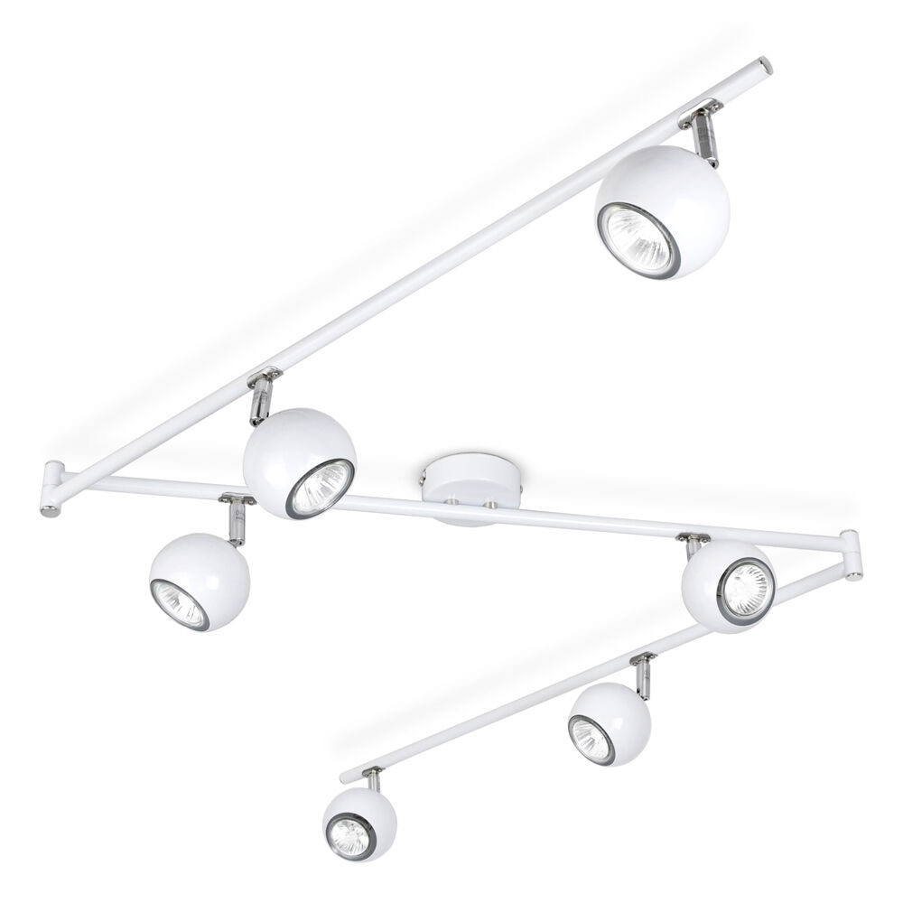 Modern White Chrome Retro Eyeball 6 Way Kitchen Ceiling