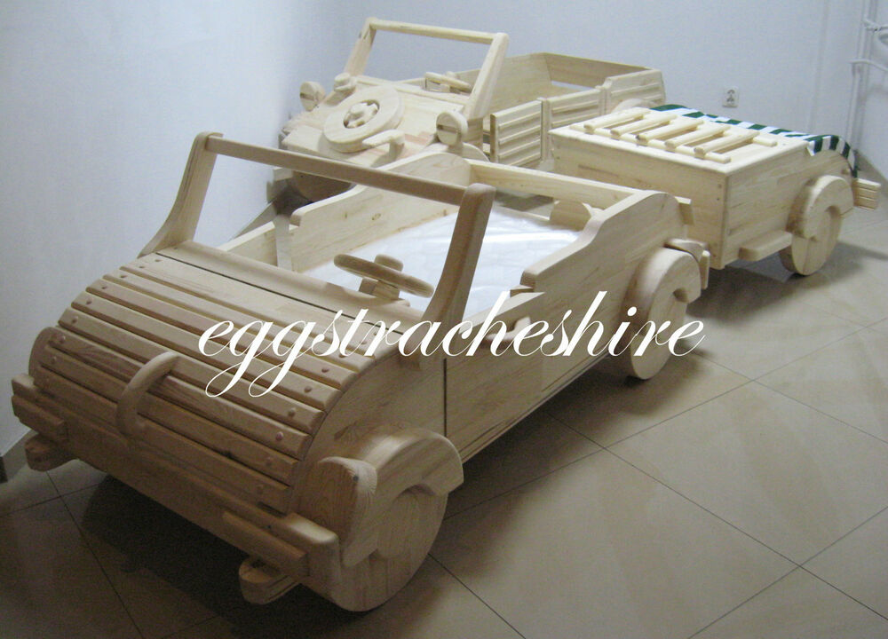 Toddler wooden car bed very unique first time in uk ebay for Unusual wooden beds