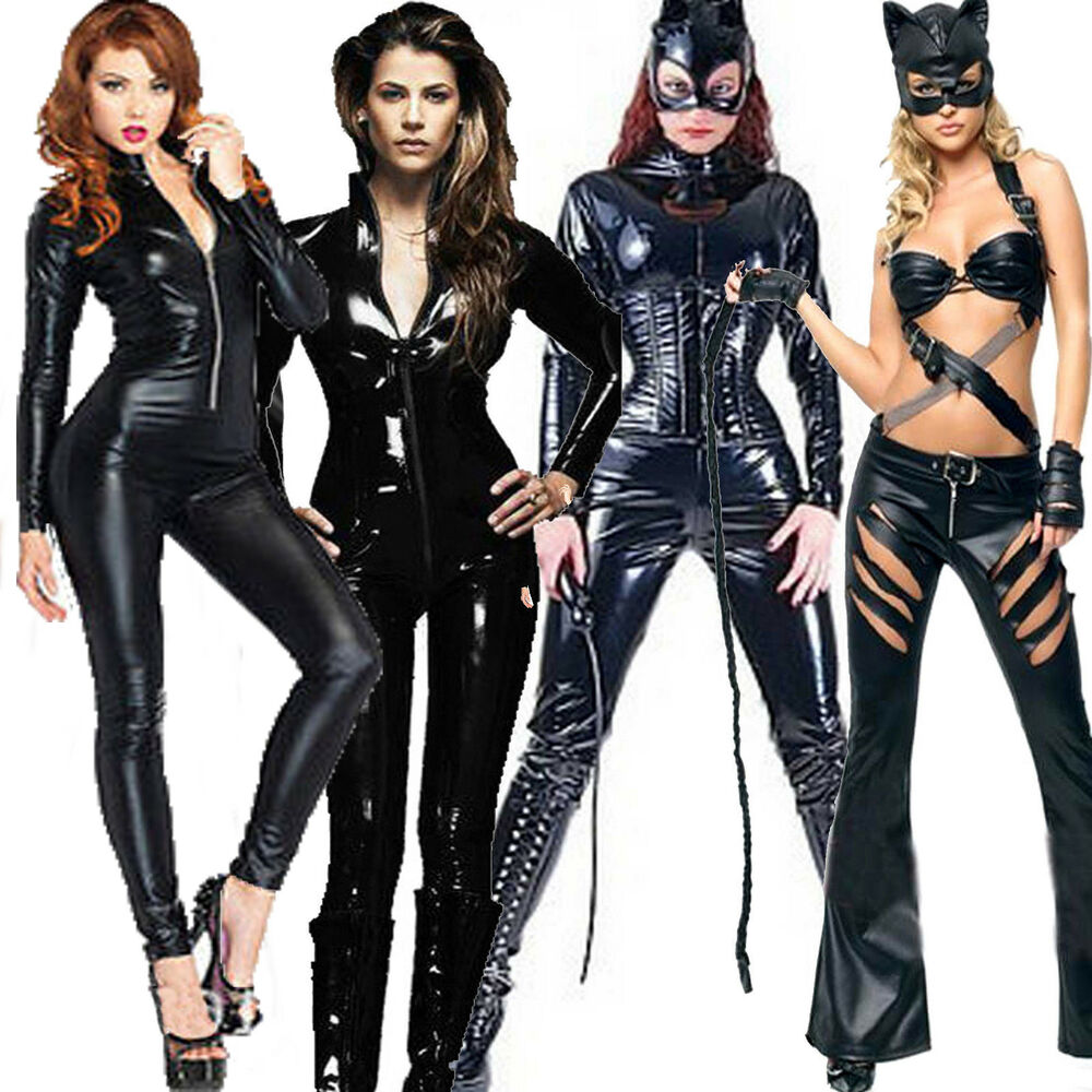 Ladies Pvc Superhero Catsuit Catwoman Fancy Dress Costume